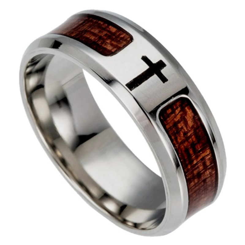 Wooden Cross Titanium Ring, Mens Rings Online