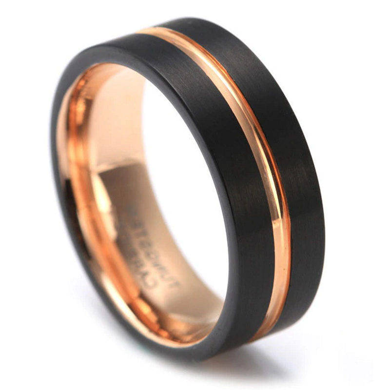 Xanthus Black Rose Gold Tungsten Men S Band Just Rings Australia