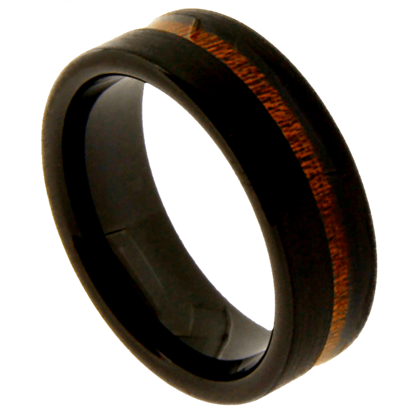 Black Forest Koa Wood, Men's Black Brushed Tungsten Carbide Ring with Koa Wood Inlay 8mm