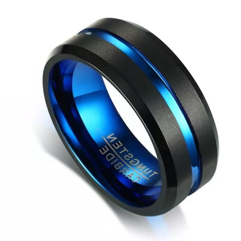 Titan Blue Black Titanium Men's Ring, Men's Rings Online, Men's Ring Just Rings Online, Free Express Postage, Free Shipping