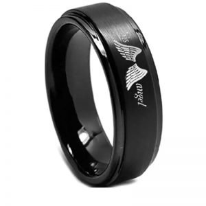 'His Angel' Black Ladies Ring, Ladies Ring, Wedding rings, cowboy, country ring, country style, cowboy ring, women's band, marriage, couples rings, Afterpay,zippay, Afterpay obsession, men's rings online, prouds, Emma Jane,