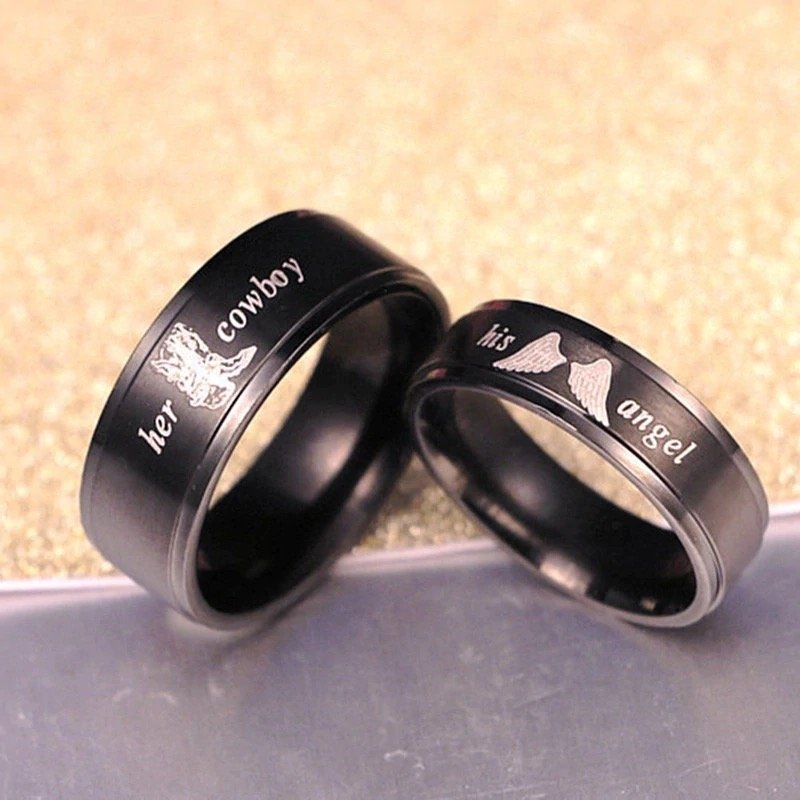 His Angel, Her Cowboy, Couples Rings, Wedding Rings, Men's Rings Online, Mens rings, Wedding Bands, Wedding rings, country wedding, western rings, Afterpay, Zippay, Humm, Laybuy, PayPal, Free Express Postage, Free Shipping, Australian Stock