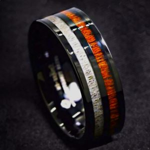 Men's Black Tungsten Carbide Ring with White Grain and Koa Wood Inlay 8mm