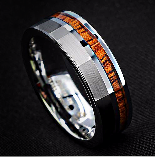 Men's Silver Brushed Tungsten Carbide Ring with Koa Wood Inlay 8mm