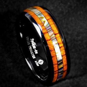 Men's Black Tungsten Carbide Ring with Koa Wood Abalone Shell Inlay 8mm