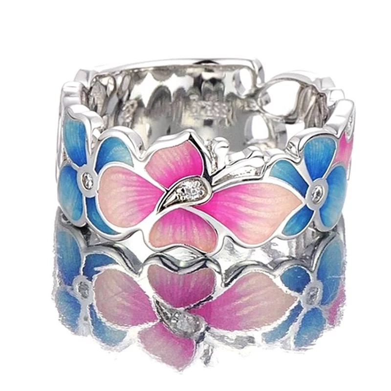 Butterflies Silver Tone Ladies Ring, ladies rings, women's rings, wedding rings, couples rings, Afterpay, Laybuy, PayPal, Latitudepay, Humm, free express postage, hassle free exchanges