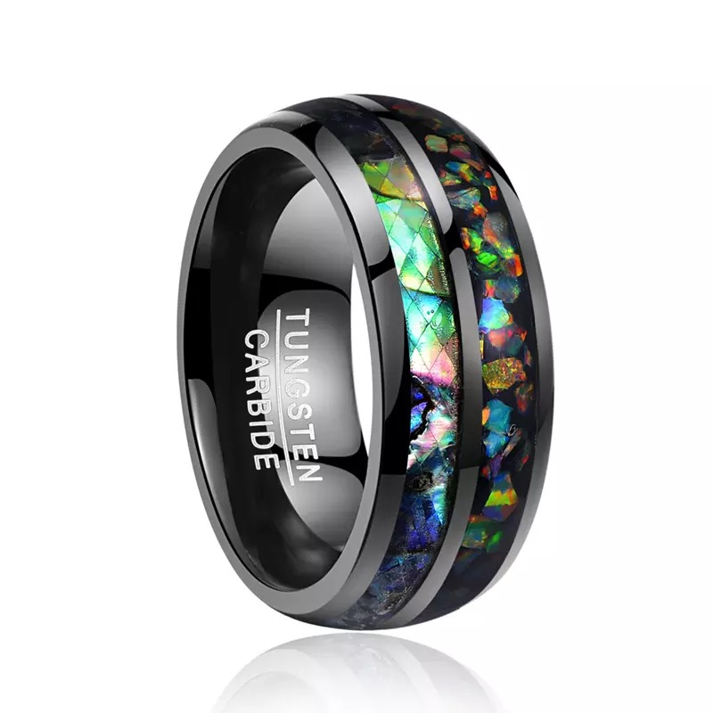 Men's Black Tungsten Carbide Ring Abalone Shell