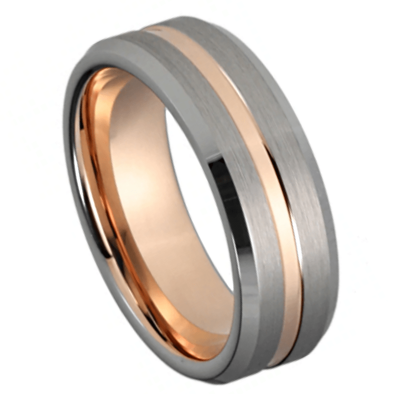 Rod Men's Tungsten Ring, Men's Rings Online, Men's Ring Just Rings Online, Free Express Postage, Free Shipping, Australian Stock , Fast Service, Easy Exchange, Free ring sizer, Ladies Ring, Womens wedding , Ladies wedding band, rose Gold Tone