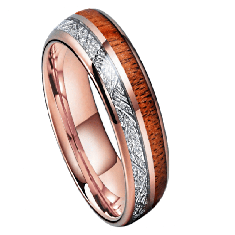 Melrose Tungsten Ring, Men's Rose Gold Dome Tungsten Ring with Koa Wood Inlay 8mm
