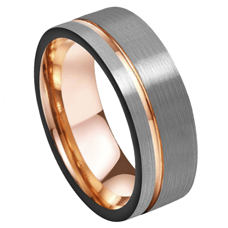 Primo Men's Tungsten Ring, Brushed,Men's Rings Online, Men's Ring Just Rings Online, Free Express Postage, Free Shipping, Australian Stock , Fast Service, Easy Exchange, Free ring sizer, Ladies Ring, Womens wedding , Ladies wedding band, rose Gold Tone