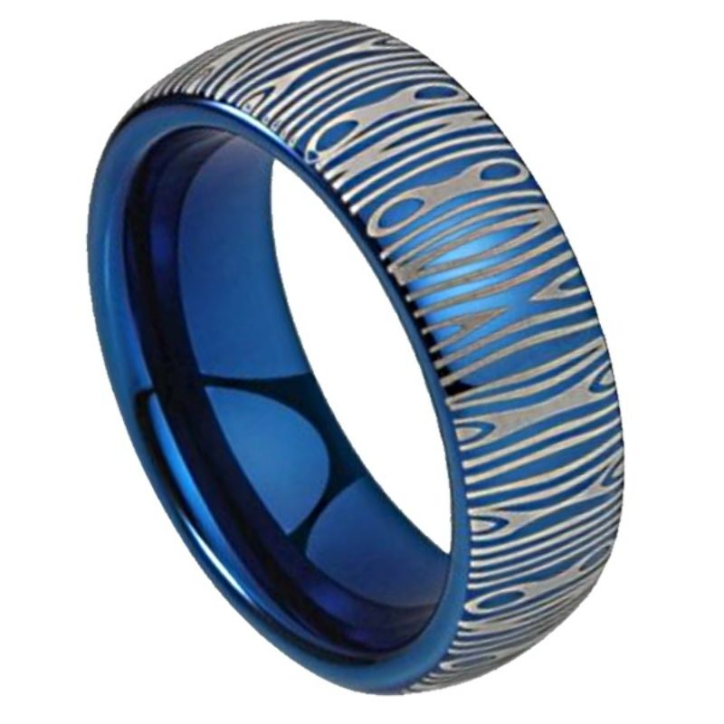 Blue Steel Men's Damascus Ring