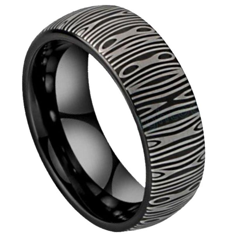 Noir Men's Damascus Ring, Damascus Steel Ring, Mens Damascus ring