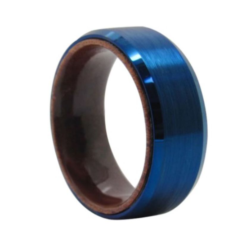 Blue Barrel Men's Ring, Men's Rings Online, Rings Online, Blue and Wood RIng, Wooden RIng, Tungsten Ring, Mens Ring, Mens Wedding Band, Afterpay, HUmm, Laybuy, Paypal, AUstralian, SMall Business, Shop local